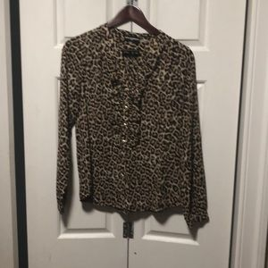 Karl Lagerfeld leopard button down